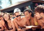 Teens at pool party