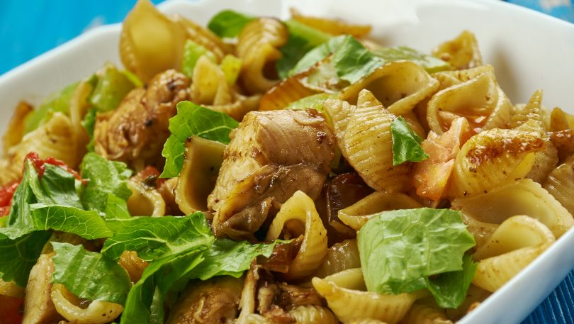 Chicken fajita meat over shell pasta