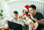 Family talking with friends virtually for the holidays