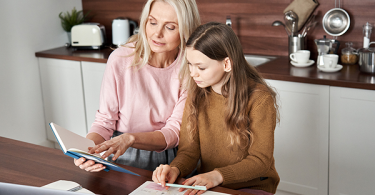 Teenage girl with her mom
