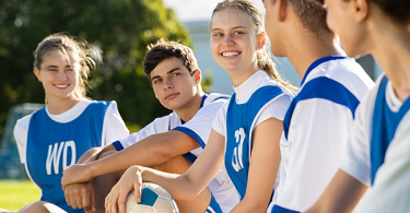 Teenagers playing sports